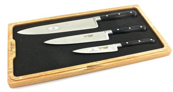 Laguiole en Aubrac Ebony Set of 3 kitchen knives 10 cm 15 cm 20 cm