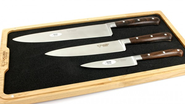 Laguiole en Aubrac Ziricote Set of 3 kitchen knives 10 cm 15 cm 20 cm