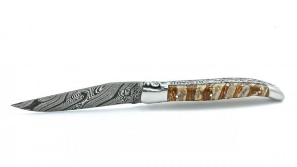 Laguiole en Aubrac double plate knife damascus Mammoth molar nature 12 cm