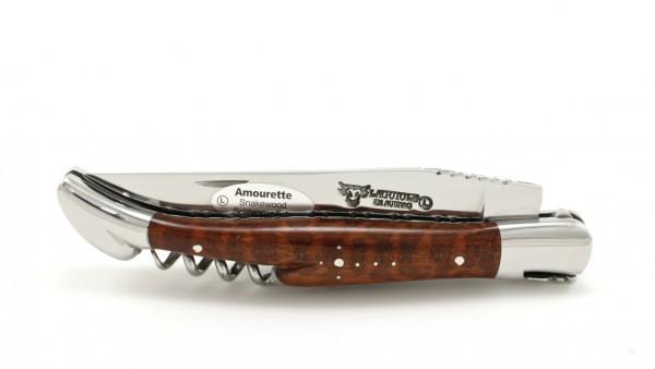 Laguiole en Aubrac Amourette/Schlangenholz guillochiert Korkenzieher 12 cm
