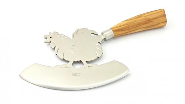 Saladini Mezzaluna Gallo Zerkleinerungsmesser/Wiegemesser mit Ständer Olive