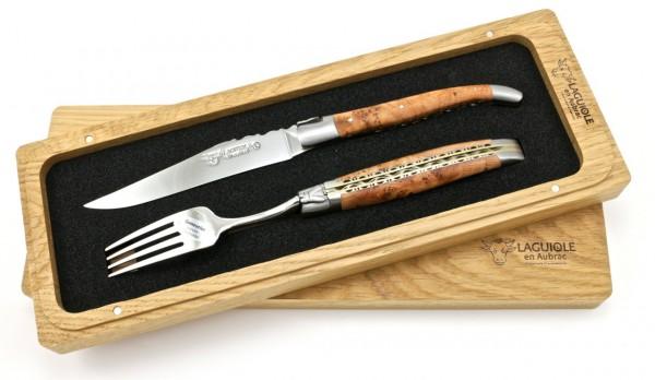 Laguiole en Aubrac Laguiole Doppelplatinen Besteckset 1 Steakmesser 1 Gabel Wacholder Set 2-tlg.