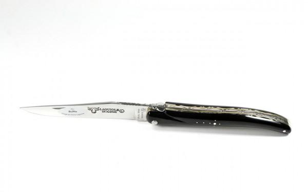 Laguiole en Aubrac Messingplatine Büffelhorn massiv 12 cm Doppelplatine