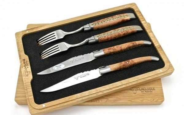 Laguiole en Aubrac Laguiole Doppelplatinen Besteckset 2 Steakmesser 2 GabelN Wacholder Set 4-tlg.