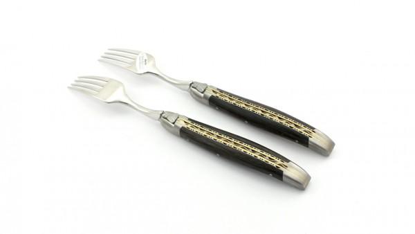 Laguiole en Aubrac Mooreiche Steakgabel Set 2-tlg. Messingplatine