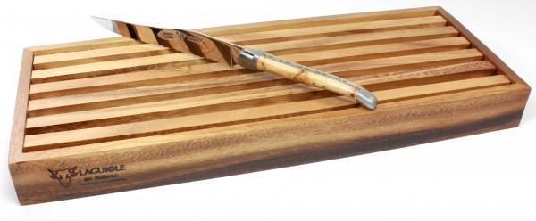 Laguiole en Aubrac Wacholder Laguiole Brotmesser mit Schneidebrett