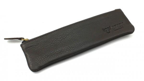 Taschen-Etui mit Reißverschluss vollnarbiges Leder braun LAGUIOLE en Aubrac