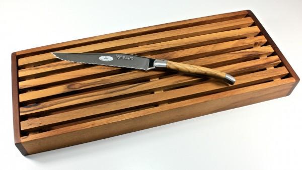 Laguiole en Aubrac Olive Laguiole Brotmesser mit Schneidebrett