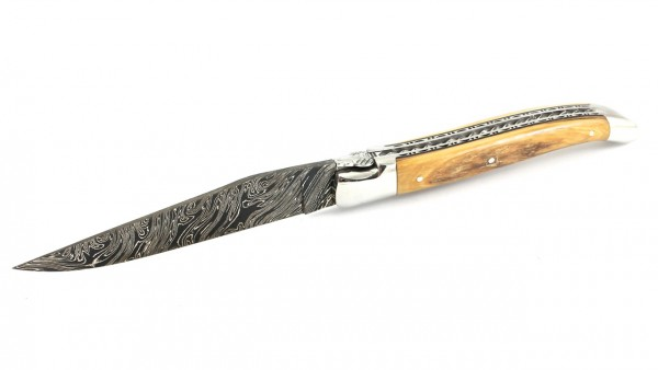 Laguiole en Aubrac double plate knife damascus Spiral spring Mammoth ivory crust 12 cm