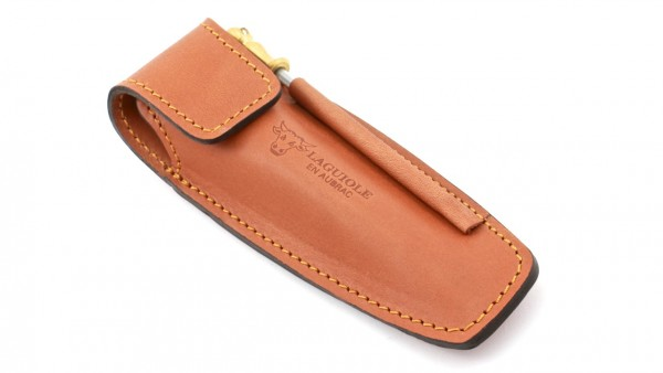 Laguiole en Aubrac MAYA leather case for the beld with sharpener 12 cm