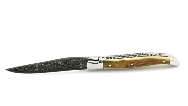 Laguiole en Aubrac double plate knife damascus Spiral spring Mammoth ivory crust 12 cm (1)