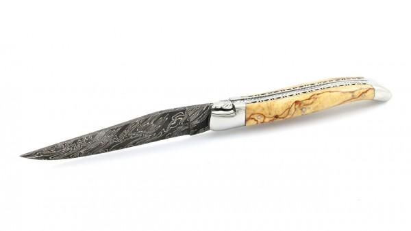 Laguiole en Aubrac Explosionsdamast Aubrac Holz poliert Doppelplatine 12 cm