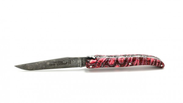 Claude DOZORME Laguiole Messer LUX Mammutbackenzahn rot 12 cm Damastklinge