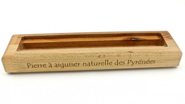 Pierre à aiguiser des Pyrenées Rutschfester Holzsockel passend für Schleifsteine 200 x 35 mm