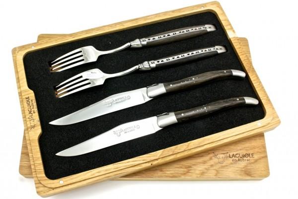 Laguiole en Aubrac Laguiole Besteck Set fossile Mooreiche 2 Messer 2 Gabeln