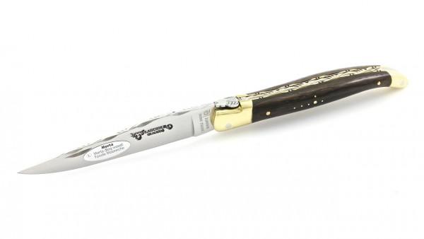 Laguiole en Aubrac Mooreiche Messingbacken guillochierte Klinge und Platine 12 cm
