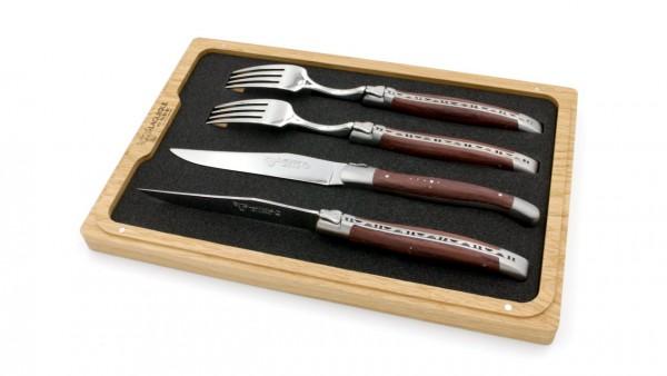 Laguiole en Aubrac Laguiole Besteck Set Palisander 2 Messer 2 Gabeln
