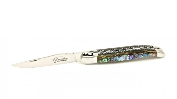 Honoré Durand Laguiole knife Prestige doubleplates Abalone shiny 14C28 12 cm