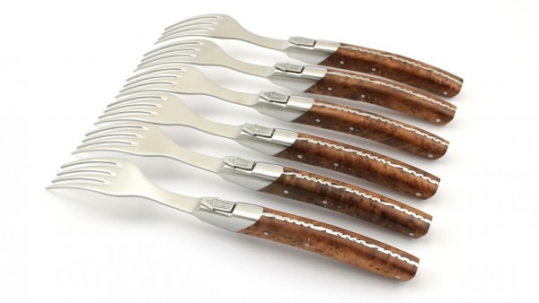 GOYON-CHAZEAU Thiers PIROU PRESTIGE Steakgabel Thuya Set 6-teilig
