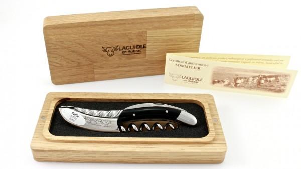 Laguiole en Aubrac Laguiole Sommelier knife Buffalohorn engraving Bosters Torsadé