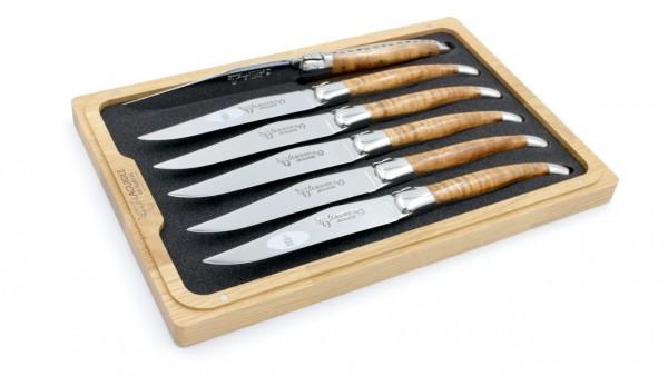 Laguiole en Aubrac Ahorn braun geflammt Laguiole Steakmesser Set 6-teilig