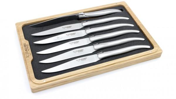 Laguiole en Aubrac Laguiole Steakmesser Set 6-teilig Edelstahl geschmiedet komplett matt