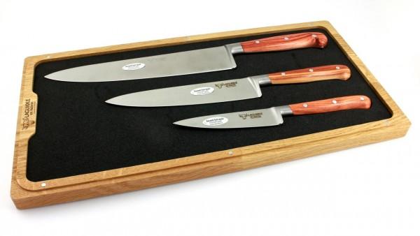 Laguiole en Aubrac Rose wood Set of 3 kitchen knives 10 cm 15 cm 20 cm