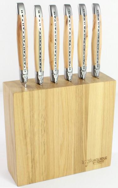 Laguiole en Aubrac Messerblock für 6 Steakmesser Eiche